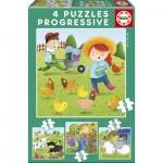 Educa-17145 4 Puzzles - Farm Animals