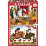 Educa-17150 2 Puzzles - Pferde