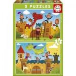 Educa-17151 2 Puzzles - Drachen und Ritter