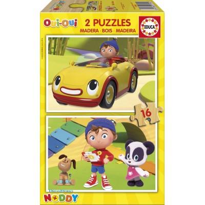 Educa-17160 2 Holzpuzzles - Noddy