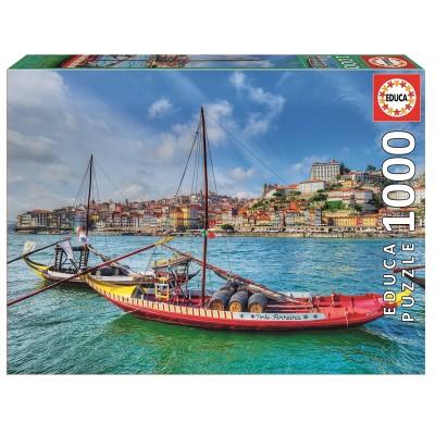 Puzzle  Educa-17196 Barcos Rabelos, Porto, Portugal