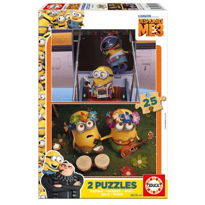 Educa-17231 2 Holzpuzzles - Minions