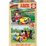 Educa-17234 2 Holzpuzzles - Mickey and The Roadster Racers