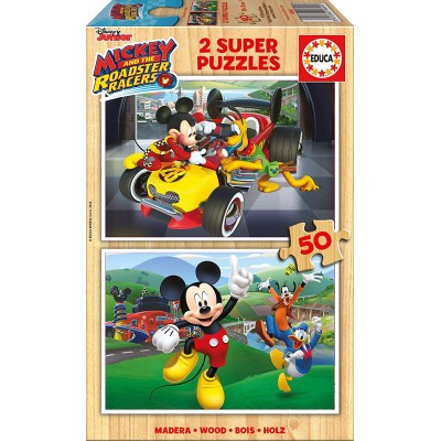 Educa-17236 2 Holzpuzzles - Mickey and The Roadster Racers