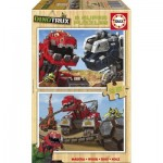 Educa-17271 2 Holzpuzzles - Dreamworks - Dinotrux
