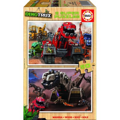 Educa-17272 2 Holzpuzzles - Dreamworks - Dinotrux