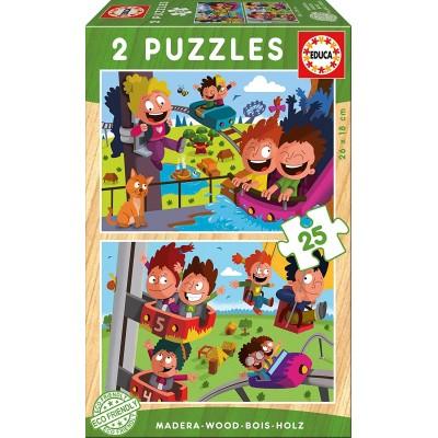 Educa-17620 2 Holzpuzzles - Kirmes