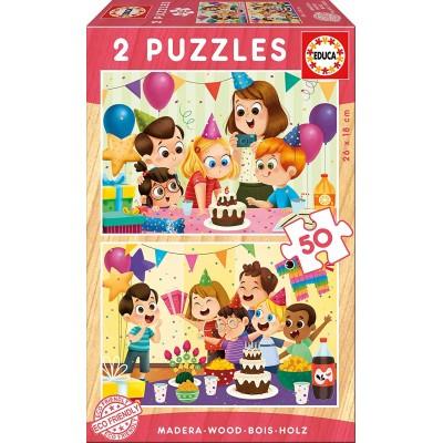 Educa-17621 2 Holzpuzzles - Geburtstagsfeier
