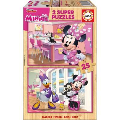 Educa-17625 2 Holzpuzzles - Minnie