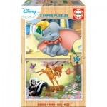 Educa-18079 Holzpuzzle - Disney - Dumbo & Bambi