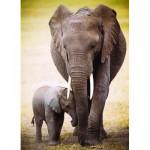 Puzzle  Eurographics-6000-0270 Elefantenmutter mit Jungtier
