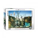 Puzzle  Eurographics-6000-0846 Salvador Dalí - Schwäne spiegeln Elefanten