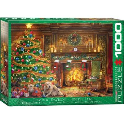 Puzzle Eurographics-6000-0974 Dominic Davison - Weihnachts Labradors