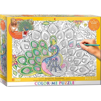 Puzzle  Eurographics-6033-0884 XXL Color Me - Majestätisch Federn