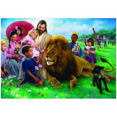 Puzzle  Eurographics-8000-0345 Nathan Greene: Jesus, der Löwe und das Lamm