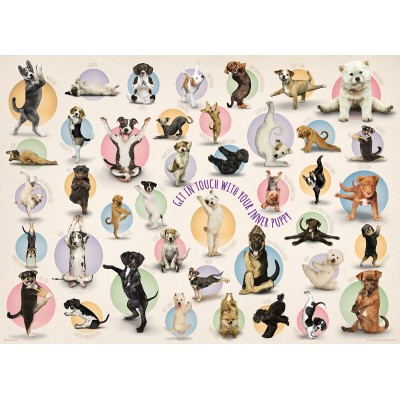Eurographics-8300-0992 XXL Teile - Familiy Puzzle: Yoga Puppies