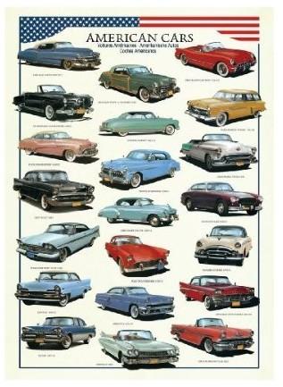 Puzzle  Eurographics-8300-3870 Amerikanische Autos der 50er Jahre