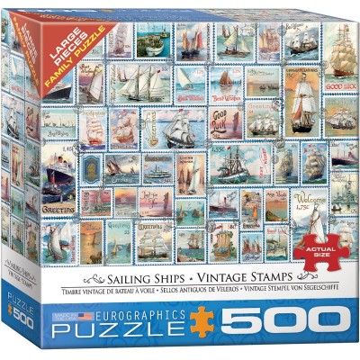Puzzle  Eurographics-8500-5357 XXL Teile - Sailing Ships - Vintage Stamps