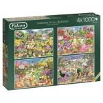 Jumbo-11235 4 Puzzles - Gardens of All Seasons
