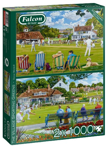Puzzle  Jumbo-11309 The Village Sporting Greens (2x1000 Teile)