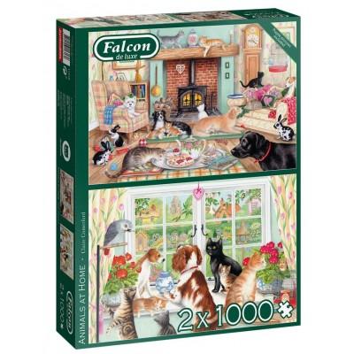 Jumbo-11318 2 Puzzles - Animals at Home