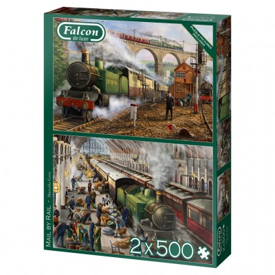 Puzzle  Jumbo-11331 Mail by Rail (2x500 Teile)