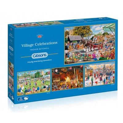 Gibsons-G5051 4 Puzzles - Trevor Mitchell - Village Celebrations