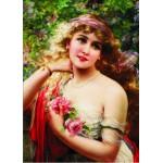 Puzzle  Gold-Puzzle-60515 Emile Vernon: Junge Dame mit Rosen
