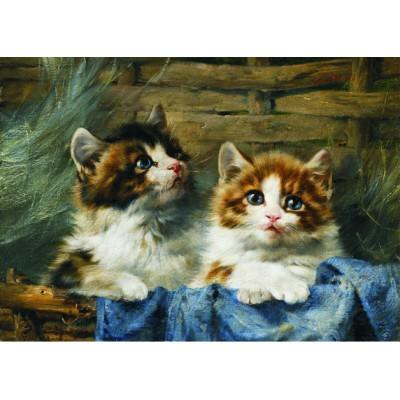 Puzzle  Gold-Puzzle-60683 Julius Adam: Zwei Kätzchen im Korb