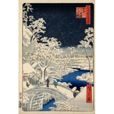 Puzzle  Grafika-Kids-00273 Hiroshige Utagawa: Trommelbrücke und Hügel der untergehenden Sonne, 1857