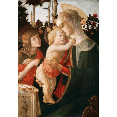 Puzzle  Grafika-Kids-00703 Sandro Botticelli: Jungfrau und das Kind mit Johannes, 1470-1475