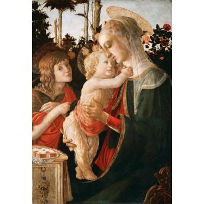 Puzzle  Grafika-Kids-00706 XXL Teile - Sandro Botticelli: Jungfrau und das Kind mit Johannes, 1470-1475