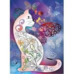 Puzzle  Grafika-Kids-00990 Katze und Schmetterlinge