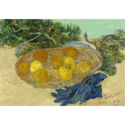 Puzzle  Grafika-Kids-01000 Vincent Van Gogh - Still Life of Oranges and Lemons with Blue Gloves, 1889