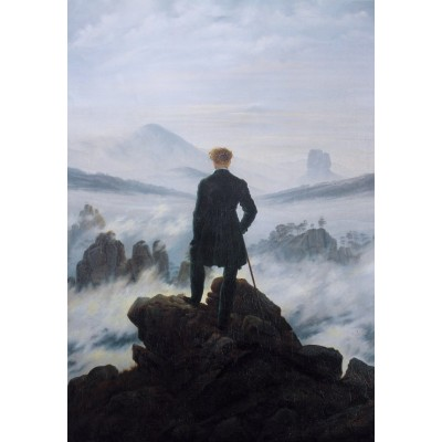 Puzzle  Grafika-Kids-01259 Caspar David Friedrich - Der Wanderer über dem Nebelmeer, 1818