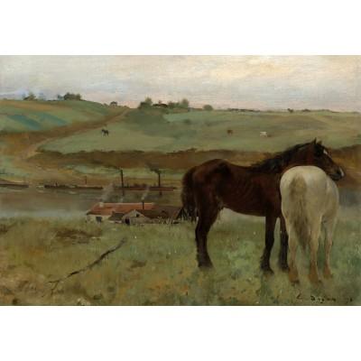 Puzzle  Grafika-Kids-01279 Edgar Degas: Horses in a Meadow, 1871