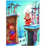 Puzzle  Grafika-Kids-01449 François Ruyer - Die Hexe und der Weihnachtsmann