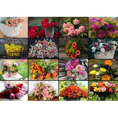 Puzzle  Grafika-Kids-01940 Magnetische Teile - Collage - Blumen