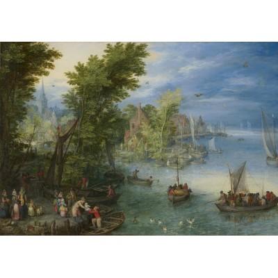 Puzzle  Grafika-Kids-02043 Jan Brueghel - River Landscape, 1607