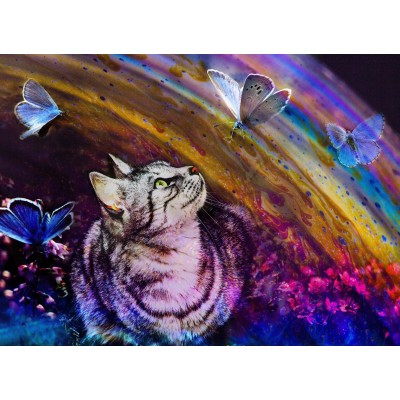 Puzzle  Grafika-Kids-02055 Katze und Schmetterlinge