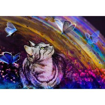 Puzzle  Grafika-Kids-02056 Katze und Schmetterlinge