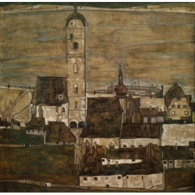 Puzzle  Grafika-00213 Egon Schiele: Stein an der Donau II, 1913