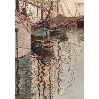 Puzzle  Grafika-00217 Egon Schiele: Segelschiffe im wellenbewegtem Wasser (Der Hafen von Triest), 1907