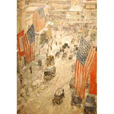 Puzzle  Grafika-00268 Childe Hassam: Flags on 57th Street, Winter, 1918