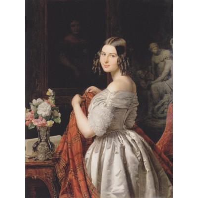 Puzzle  Grafika-00288 Ferdinand Georg Waldmüller: Junge Dame bei der Toilette, 1840