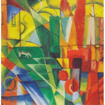 Puzzle  Grafika-00325 Franz Marc: Landschaft mit Haus, Hund und Rind, 1914