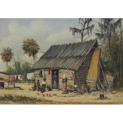 Puzzle  Grafika-00380 William Aiken Walker: A Cabin Scene with Washing on Fence