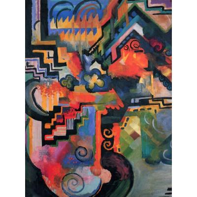 Puzzle  Grafika-00439 August Macke: Farbige Komposition, 1912