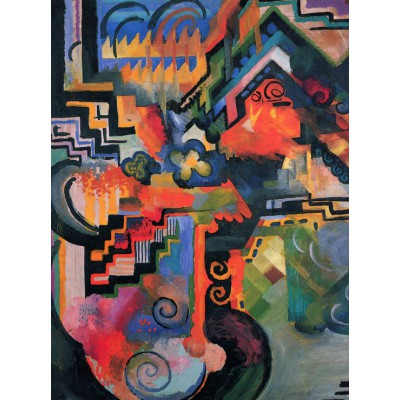 Puzzle Grafika-00439 August Macke: Farbige Komposition, 1912
