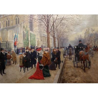 Puzzle  Grafika-00454 Jean Béraud: Après l'office à l'Eglise de la Sainte-Trinité, 1900